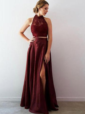 Two Piece Burgundy Prom Dress Cheap Lace Long Prom Dress #ER265 - OrtDress