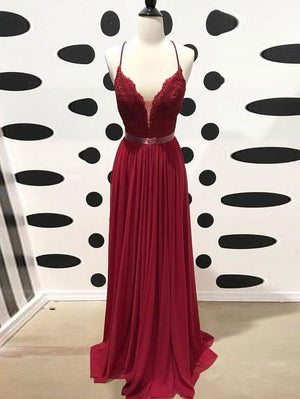 Burgundy Chiffon Prom Dress Vintage Cheap A Line Long Prom Dress #ER280 - OrtDress