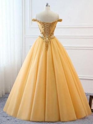 Ball Gown Vintage Prom Dress Plus Size Off The Shoulder Gold Prom Dress #ER282 - OrtDress
