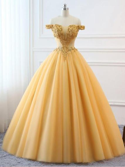 805b5c2da79 Ball Gown Vintage Prom Dress Plus Size Off The Shoulder Gold Prom Dress   ER282 -