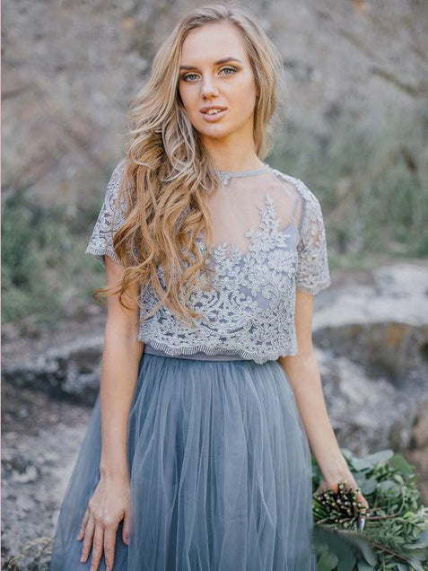 Two Piece Lace Prom Dress Silver Short Sleeve Tulle Plus Size Prom Dress #ER284 - OrtDress