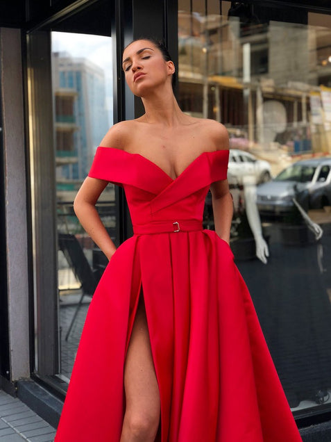 Red Off The Shoulder Prom Dress Satin Cheap Plus Size Long Prom Dress #ER285 - OrtDress