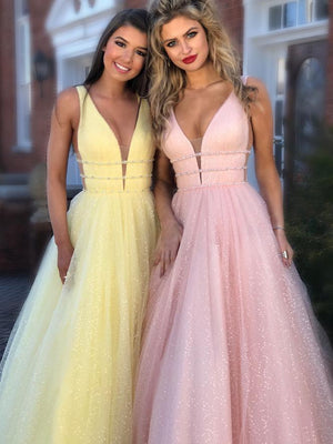 Chiffon Pink Prom Dress Vintage Cheap A Line V Neck Tulle Prom Dress #ER290 - OrtDress