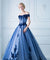 Off The Shoulder Lace Prom Dress Vintage Tulle Short Sleeve Prom Dress #ER292 - OrtDress