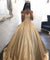 Off The Shoulder Ball Gown Prom Dress Vintage Short Sleeve Prom Dress #ER293 - OrtDress