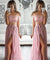 Pink Two Piece Prom Dress Lace Chiffon Off The Shoulder Prom Dress #ER294 - OrtDress