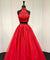 Red Two Piece Prom Dress Vintage Lace Tulle High Neck Prom Dress #ER296 - OrtDress