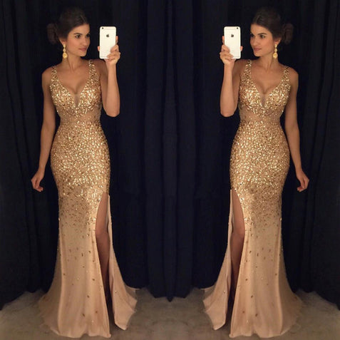 Gold Mermaid Prom Dress Cheap Long Tulle African Prom Dress #ER301 - OrtDress