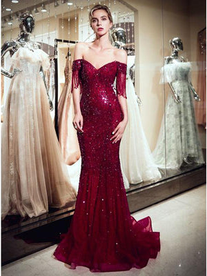 Off The Shoulder Burgundy Prom Dress Vintage Beading Mermaid Prom Dress #ER310 - OrtDress
