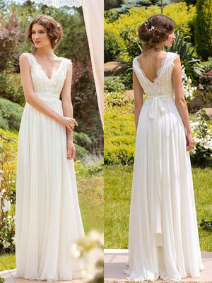 Chiffon Lace Wedding Dress Ivory A Line V Neck Cheap Wedding Dress #ER352 - OrtDress