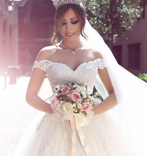 Ball Gown Off The Shoulder Wedding Dress Lace White Wedding Dress #ER353 - OrtDress