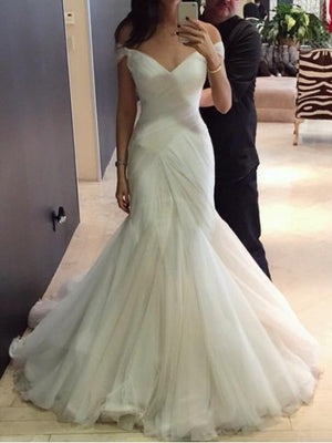 Mermaid Off The Shoulder Wedding Dress Ivory Tulle Cheap Wedding Dress #ER354 - OrtDress