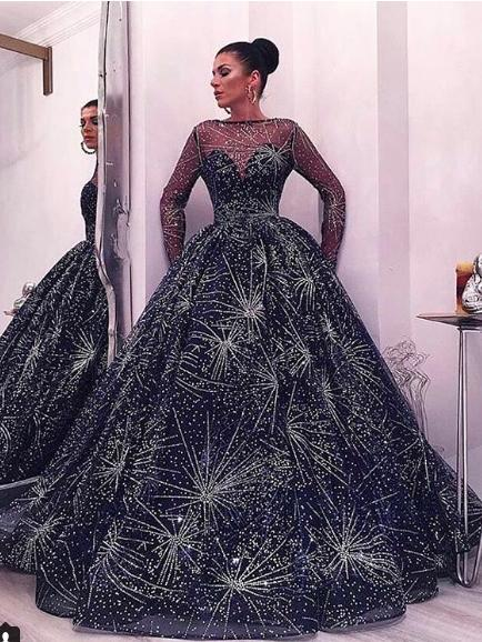 Chic Ball Gown Prom Dress Long Sleeve Cheap Plus Size Prom Dress ...