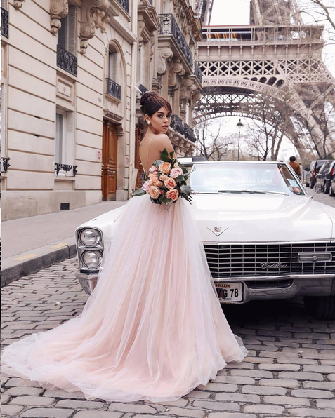 Chic Tulle Prom Dress A Line Cheap Long V Neck Prom Dress #ER362 - OrtDress