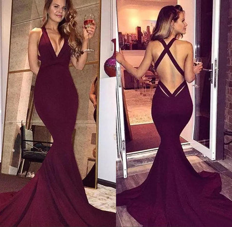 Mermaid Burgundy Prom Dress Sexy V Neck Cheap African Prom Dress #ER368 - OrtDress