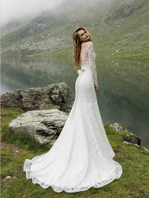 Mermaid Lace Wedding Dress Long Sleeve White Cheap Wedding Dress #ER369 - OrtDress