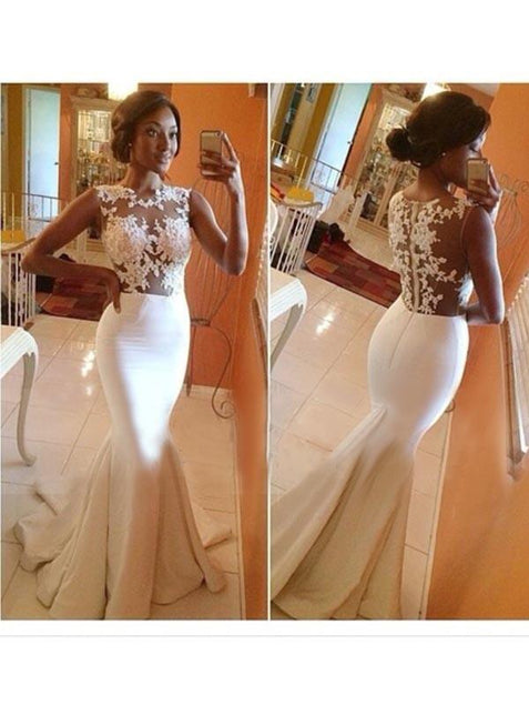 Mermaid White Prom Dress Sexy Lace Cheap African Prom Dress #ER371 - OrtDress