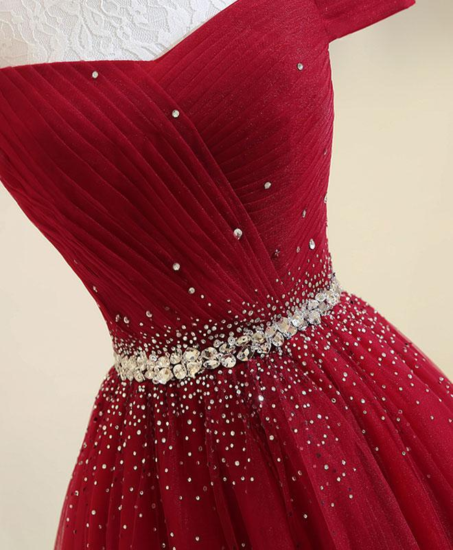 Off The Shoulder Red Prom Dress Cheap A Line Tulle Prom Dress #ER400 - OrtDress