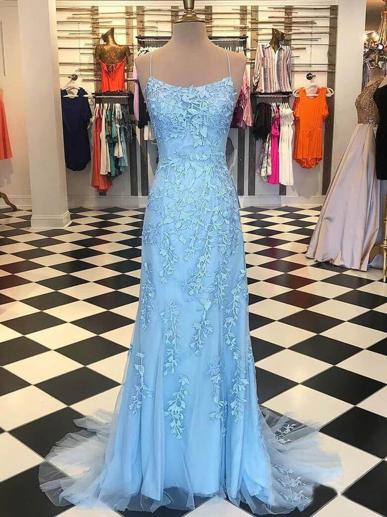 Mermaid Blue Prom Dress Lace African Long Prom Dress #ER420 - OrtDress
