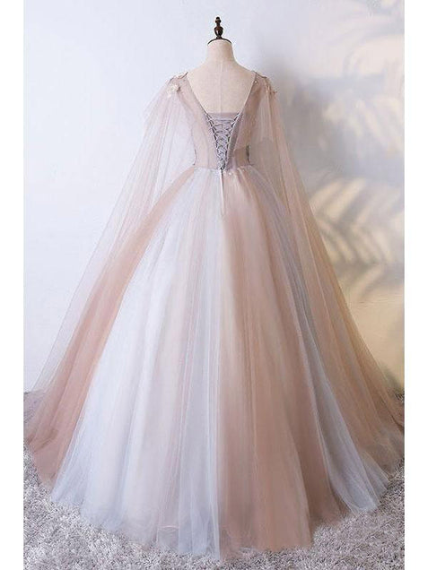 Ball Gown Vintage Prom Dress Plus Size Long Sleeve Tulle Prom Dress #ER422 - OrtDress