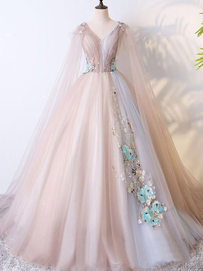Ball Gown Vintage Prom Dress Plus Size Long Sleeve Tulle Prom Dress #ER422