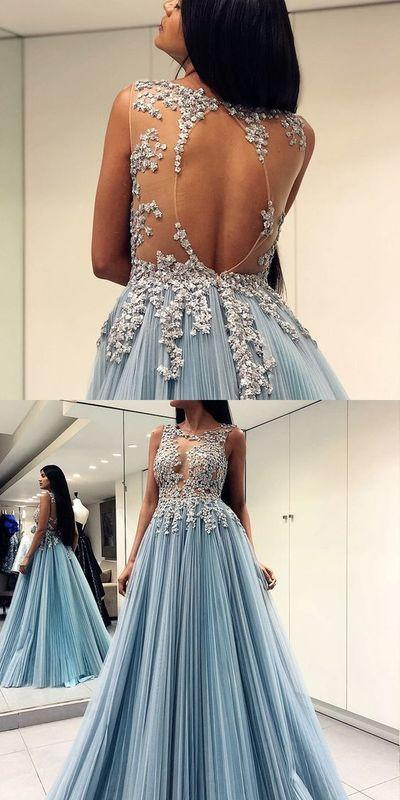 Chic Tulle Prom Dress Blue A Line Plus Size Long Prom Dress #ER431 - OrtDress