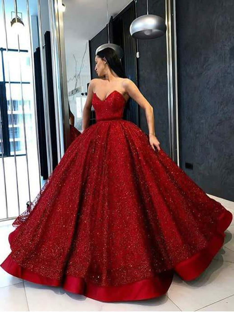 Ball Gown Prom Dress Sweetheart Red Plus Size Long Prom Dress #ER432 - OrtDress