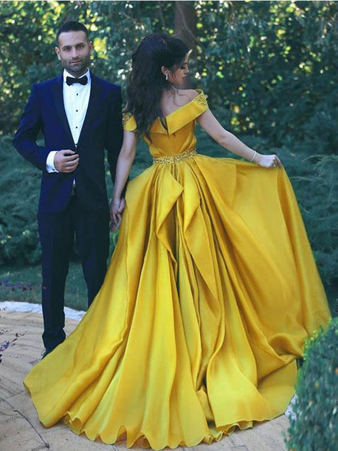 Off The Shoulder Yellow Prom Dress Plus Size Cheap Prom Dress #ER462 - OrtDress