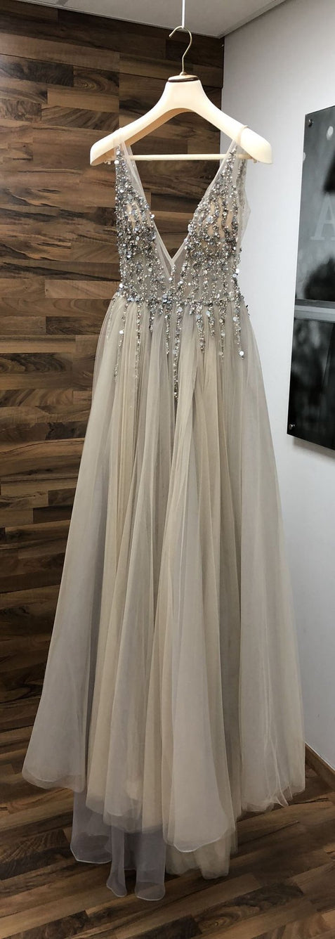 Chic Silver Prom Dress Cheap A Line V Neck Tulle Prom Dress #ER500 - OrtDress