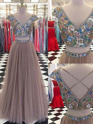 Vintage Two Piece Prom Dress V Neck Tulle Plus Size Prom Dress #ER502 - OrtDress