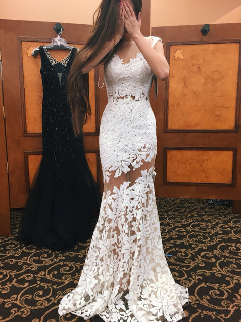 Ivory Prom Dress Sheath/Column Appliques Lace Sexy Long Prom Dress/Evening Dress #ER511 - OrtDress