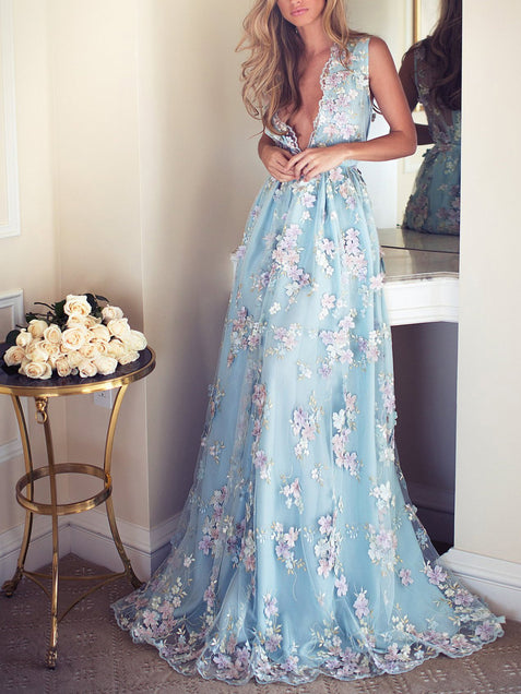 Lace Blue Prom Dress Lace V Neck Long Vintage Prom Dress #ER513 - OrtDress
