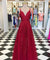 Burgundy Lace Prom Dress Cheap A Line Long African Prom Dress #ER551 - OrtDress