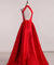 Red Satin Prom Dress Cheap A Line Long Halter African Prom Dress #ER563 - OrtDress