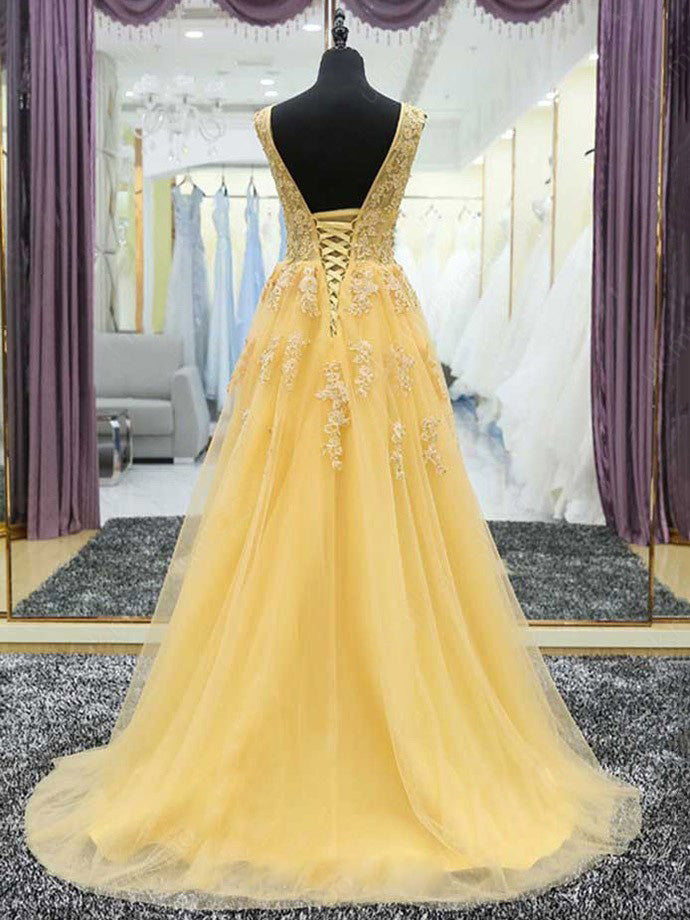 Yellow A Line V Neck Prom Dress Modest Cheap Long Tulle Prom Dress ER572 - OrtDress