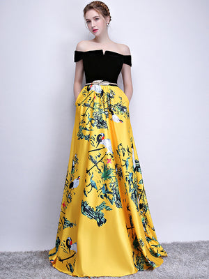 Chic A Line Yellow Prom Dress Off The Shoulder Floral Cheap Long Prom Dress ER580 - OrtDress