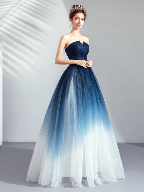 Chic Ombre Prom Dress A Line African Cheap Long Prom Dress ER581 - OrtDress