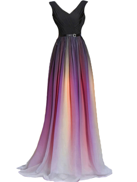 Chic Ombre Prom Dress A Line Chiffon Cheap Long Prom Dress ER583 - OrtDress