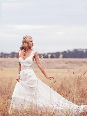 A-line V neck Ivory Wedding Dresses Rustic Chiffon Cheap Wedding Dresses ER800 - OrtDress
