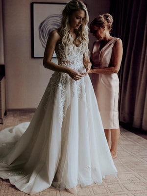 A-line Ivory Wedding Dresses Lace Cheap Sweetheart  Wedding Dresses ER801 - OrtDress