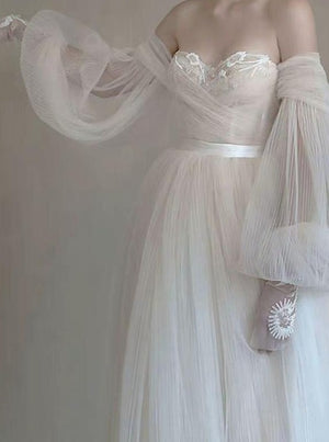 Lavish Beadings Bohemian Wedding Dress with Sleeves Pleated Tulle Detachable Skirt Wedding Gown ER2125