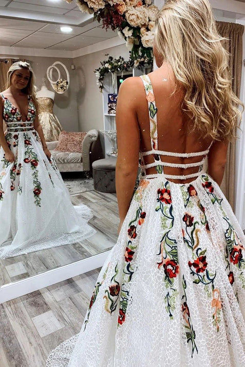 A Line Deep V Neck Backless Formal Party Prom Dress with Flowers Appliqued ER2111