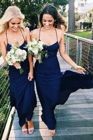 Navy Blue Chiffon Halter Bridesmaid Prom Party Dress ER2102