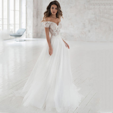 Off The Shoulder Appliqued Bride Dresses A Line Elegant Lace Wedding Bridal Gowns ER2100
