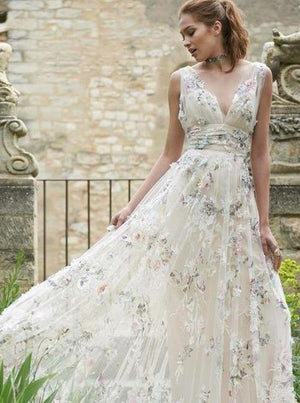 Rustic Deep V Neck Wedding Dresses Colorful Lace In Ivory Tulle A Line Floor Length Wedding Gowns ER2122
