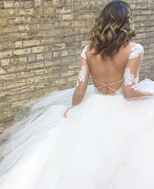 See Through V Neck Lace Wedding Dress Backless Lace Up Tulle Bottom Wedding Gowns ER2123