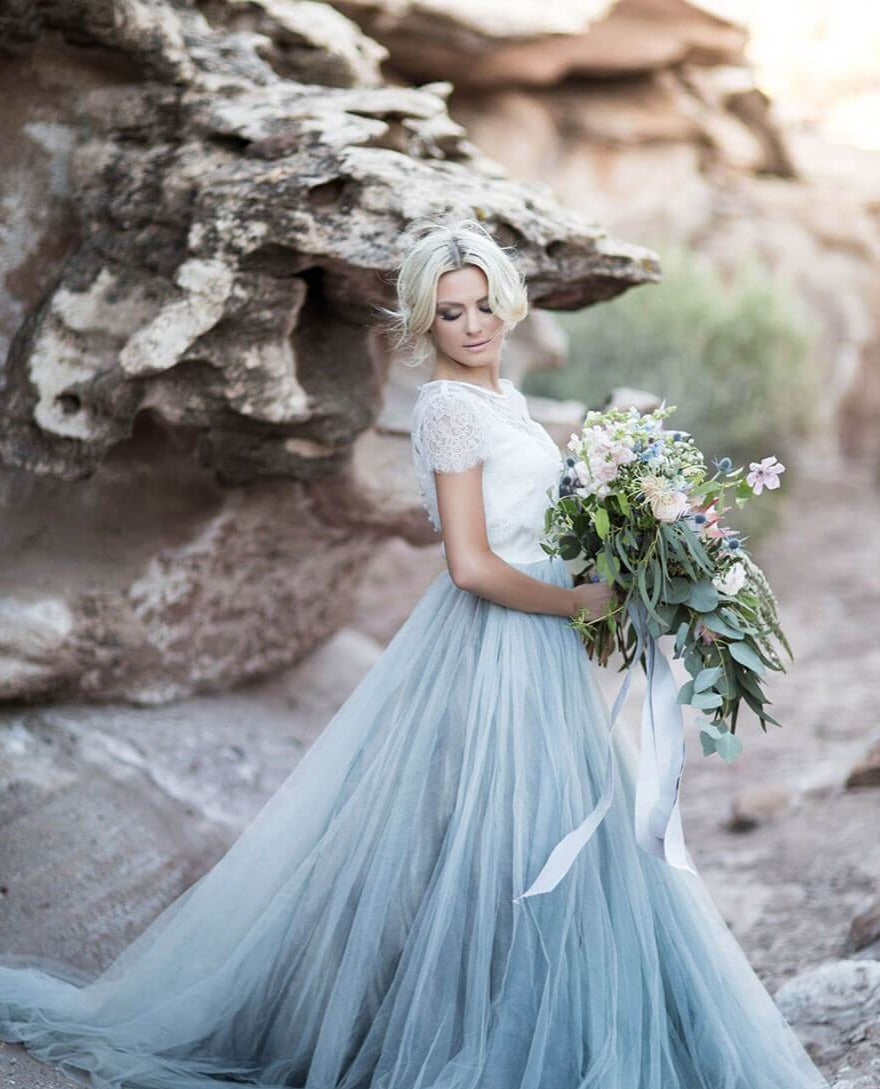Three Piece Ombre Beach Wedding Dresses with Lace Crop Top ER2117
