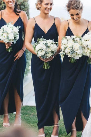 V-neckline Navy Chiffon Bridesmaid Dress with Straps for Wedding 2021 ER2103