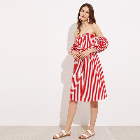 Womens Dress Three Quarter Red White Striped Sexy Off Shoulder