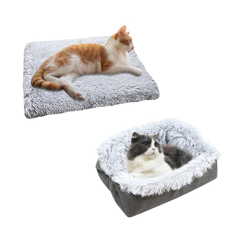 Plush Cat Bed House Cat Mat Net Red Cat Litter Plush Two-in-one Pet Mat Cat  Cat Winter Warm Dog House Sleeping